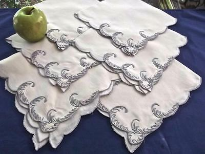 """6 Antique Linen 16"""" Napkins Madeira Hand Embroidered Dusty Lavender Scrolls"""