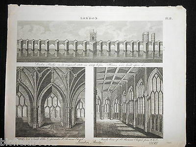 Antiquarian 1814 Engraving of London Bridge and St Thomas's Chapel, Architecture