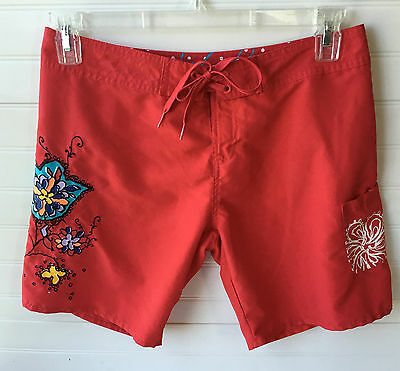 Body Glove Board Shorts Size Small Cherry Red with Vibrant Colors UNISEX