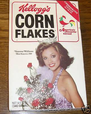 Original 1984-85 Vanessa Williams Corn Flakes Cereal Box Miss America Penthouse