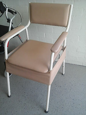 Bedside Commode Chair. Toilet Seat Padded Arms Adjustable Height. Heavy Duty