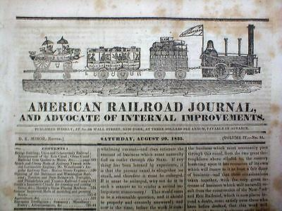Rare 1835 RAILROAD JOURNAL with ENGRAVING of early TRAIN