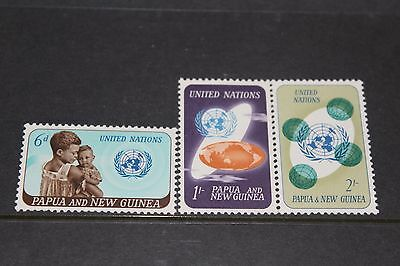 Papua New Guinea 1965 Ann Of United Nations Set Of 3  Very Fine M/l/h
