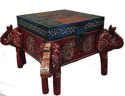 Beautiful Indian Elephant Wood Table with drawer and lockable clasp (Raj13)