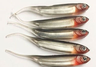 6 Silver Needle Tail Lures 8cm Drop Shot Jig Fishing Pike Perch Rubber Bait