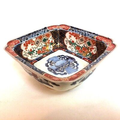 Wonderful Antique Imari Square Footed Bowl