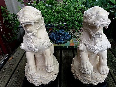 Jaru, Foo Dog Statues on Stands - Plaster/Concrete Mix (1987) Very Heavy