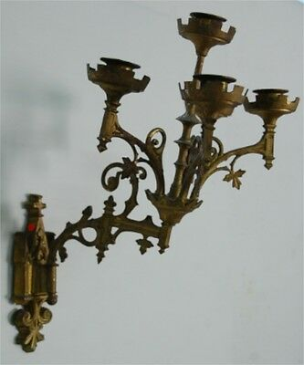 Pair of'bracket Bronze Golden Gothic revival Eglise Old French Church