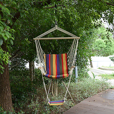 Outsunny Outdoor Hanging Rope Wooden Swing Chair Garden Tree Hammock Seat