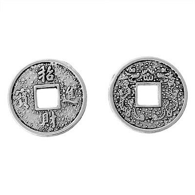 30 x Chinese  Lucky Coins Wealth & Fortune  Antique Silver Alloy 20mm (B75004)