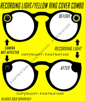 Yellow Ring Delete Kit for Snapchat Spectacles and 2 in 1 Recording light Cover