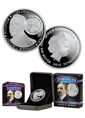 2015 Tuvalu 1 Oz Silver Coin Adolph A. Weinman in OGP(Mintage:1000)