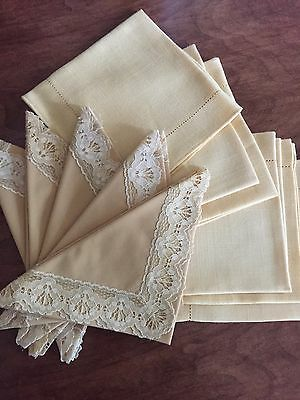 Lot Of Vintage Mustard Yellow Linen Napkins With Hemstitch And Lace