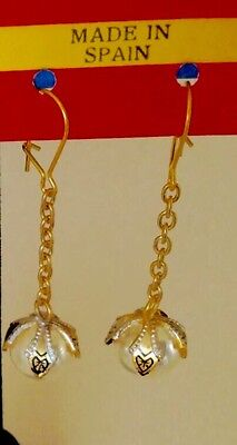 Vintage Toledo Spain Long Dangle Pearl Pierced Earrings 24K GP Damascene Style
