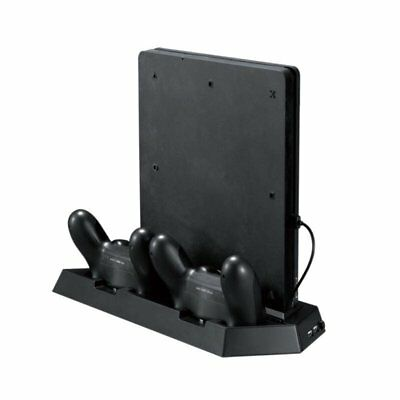 Vertical Stand W/ Dual Charging Station Cooling Fan for PS4 Slim