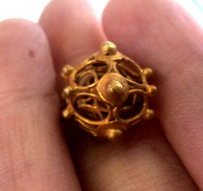 Astonishing Antique HIGH Solid 24K Gold Viking Bead Handwork Multi Layer Thorn