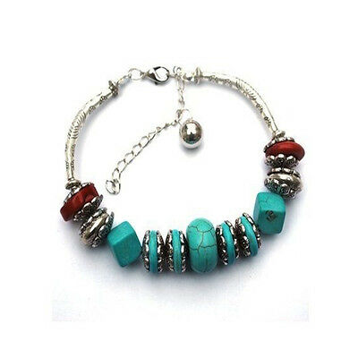 Round Special Women High Quality Bracelet Fake Turquoise Silver Plated Blue