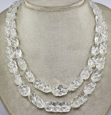 Classic 2 Line 688 Cts Natural Rock Crystal Quartz Carved Long Beads Necklace