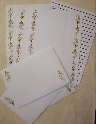 White Flowers letter writing paper & envelopes stationery  - Cute set