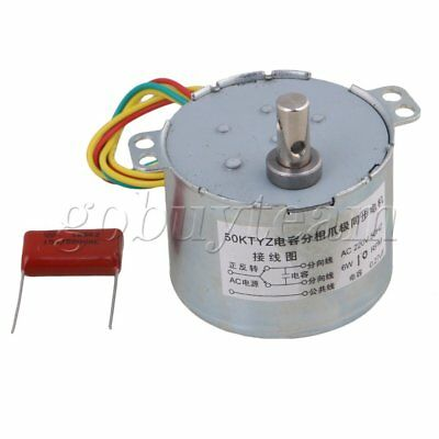 Metal AC220V 50KTYZ 10RPM Silver Gear Synchronous Electric Motor 6mm Dia Shaft