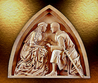 Sir Lancelot Guinevere Wall tile stone relief sculpture wedding proposale ring