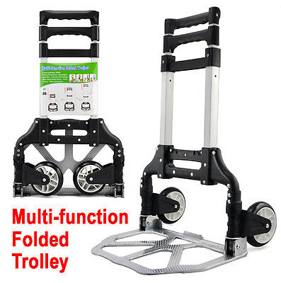 80kg Folding Aluminium Heavy Duty Luggage Trolley Hand Truck Foldable Cart AU