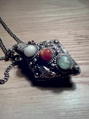 Antique Snuff Poison Perfume Bottle Pendant For Necklace With Colorful Stones