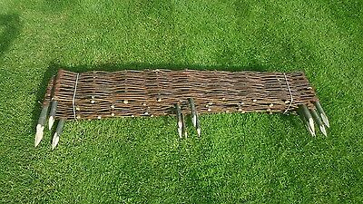 Garden Patio Willow Border Fence with Post Outdoor Fencing 120 x 35 cm 10pcs