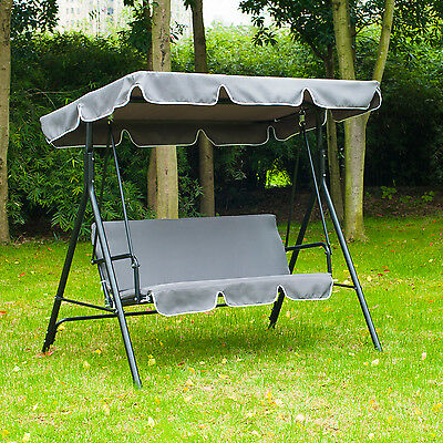 Outsunny 3 Seater Swing Chair Bench Hammock Swinging Garden Patio Canopy Grey
