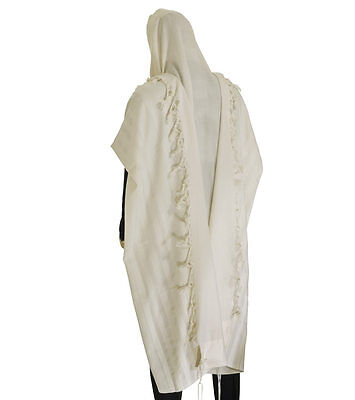 "100% Wool Tallit Prayer Shawl Model Malchut white  Size XXL 70.8""X78.7"""