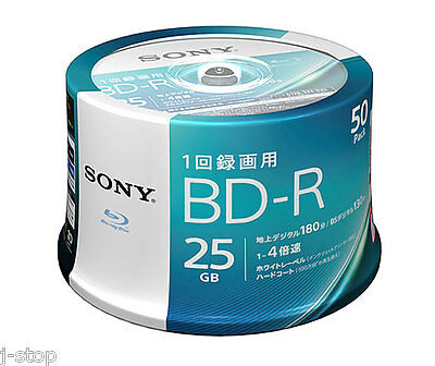50 Sony Bluray BD-R 25GB 4x Speed Inkjet Printable Sealed Blu-ray DVD Discs