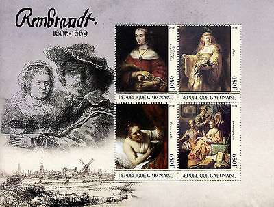 Gabon 2016 MNH Rembrandt 4v M/S Art Paintings Stamps