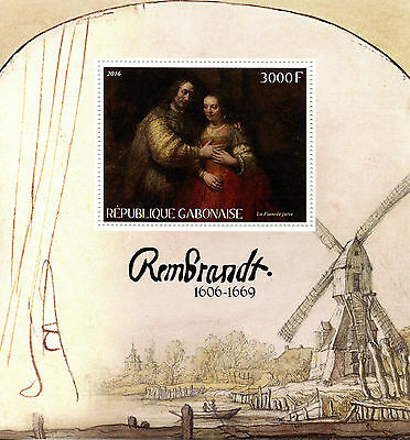 Gabon 2016 MNH Rembrandt 1v S/S Art Paintings Stamps