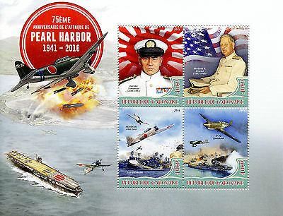 Gabon 2016 MNH WWII WW2 Pearl Harbour Attack 75th 4v M/S Aviation Ships Stamps