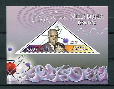 Ivory Coast 2016 MNH Niels Bohr 1v S/S Physics Science Stamps