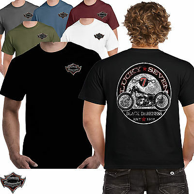Mens Biker T shirt Black Darkness Classic Motorcycle Motorbike Bobber Chopper 74