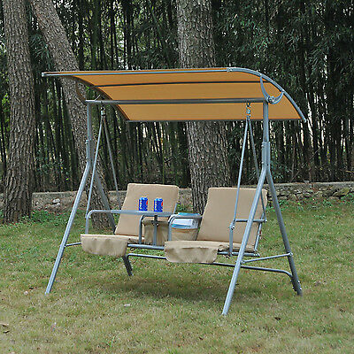 Outsunny Outdoor 2 Seater Swing Chair Hammock Canopy  w/ Drink Tray Cushion