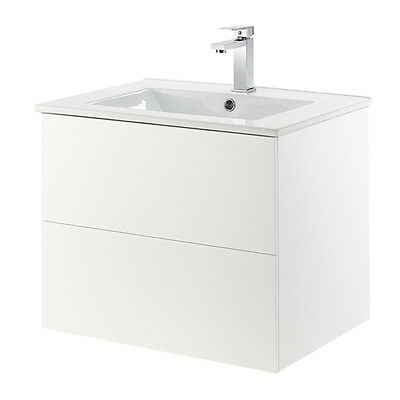 Gloss White Wall Mounted Vanity Unit & Ceramic Basin With 2 Drawers Lia