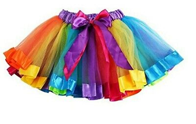 Girls Rainbow Tutu Skirt Petticoat Multicolour Dress Kids Ballet Princess Dance