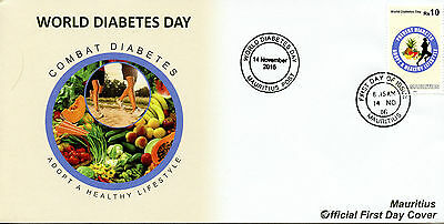 Mauritius 2016 FDC World Diabetes Day 1v Set Cover Health Medical Stamps