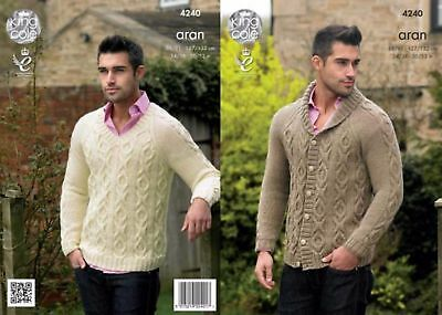 "Mens Cardigan & Sweater Aran  Knitting Pattern For 34-52""  King Cole 4240"
