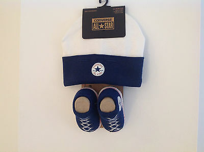 NEW Converse Baby Beanie Hat & Booties/Socks 0-6 Months Navy/White