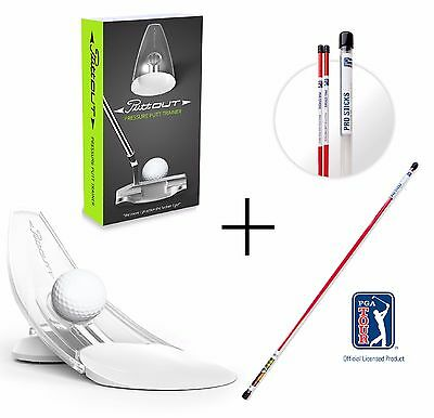 PuttOut Pressure Putt Trainer AND PGA TOUR Alignment Sticks - Golf Putting Cup