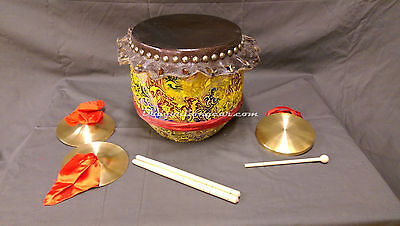 Children's Chinese Lion Dance Drum Yellow, Cymbals and Gong set.