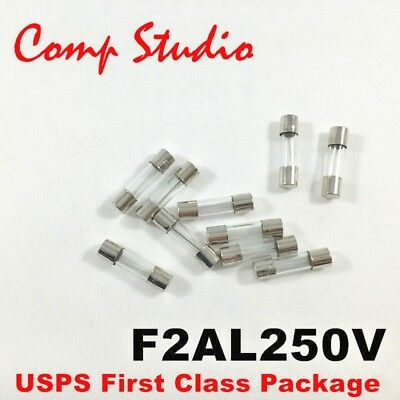 10pcs/lot 2A 250V Fast Blow Fuse Glass Tube Fuse 5x20mm F2AL250V - US Stock