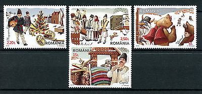 Romania 2016 MNH New Year Customs 4v Set Bears Cultures Traditions Stamps