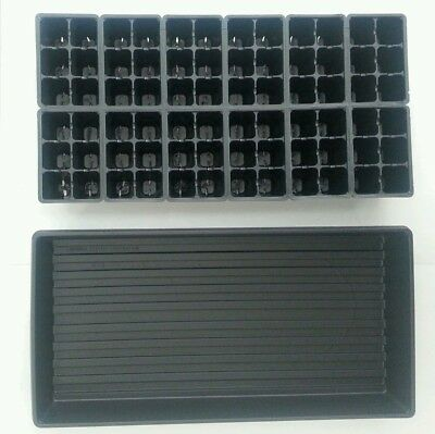 Set of 10 SOLID TRAYS AND 720 Cells Seedling Starting Inserts Black 1206