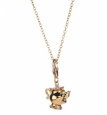 Official 14Kt Gold Plated Beauty And The Beast Mrs Potts Charm And Necklace from