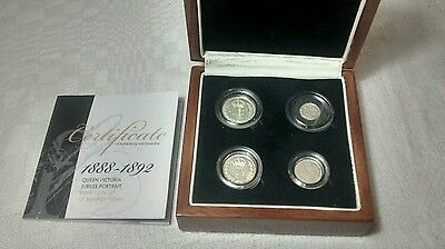 1888-92 maundy coin set jubilee head boxed with coa