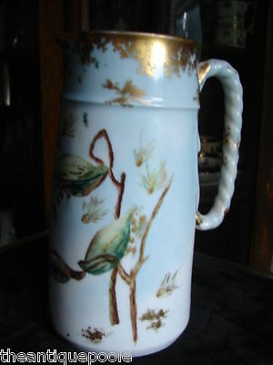 1871 H &C Staffordshire Porcelain Motto 2pt Jug Pitcher Gold & Painted Milk Weed